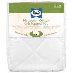 "Sealy Baby Naturals Cotton Crib and Toddler Mattress Pad (52"" x 28"")"