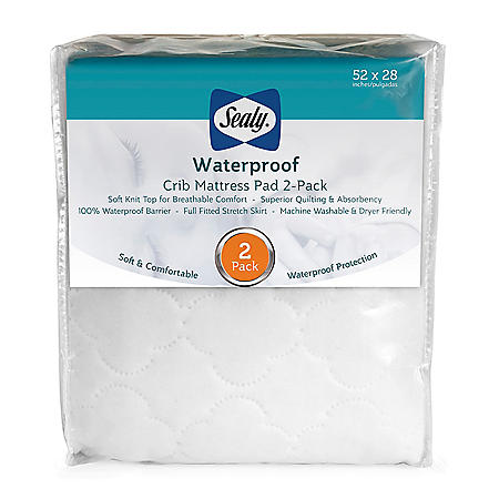 Sealy Waterproof Crib Mattress Pad, 2-Pack