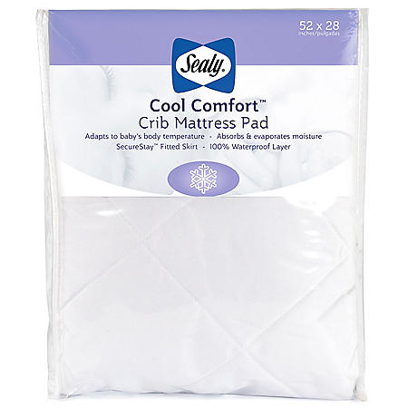 "Sealy Cool Comfort Waterproof Infant/Toddler Crib Mattress Pad (52"" x 28"" x 8.5"")"