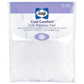 "Sealy Cool Comfort Waterproof Infant/Toddler Crib Mattress Pad (52"" x 28"" x 8.5"")"