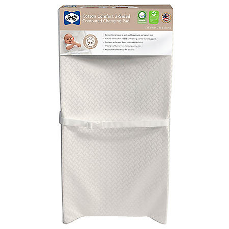 Sealy Cotton Comfort 3-Sided Contoured Diaper Changing Pad