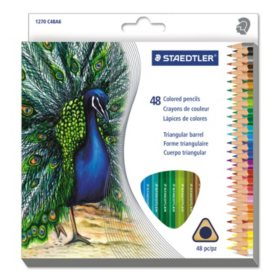 Staedtler Triangular Colored Pencil Set, H/#3, 2.9 mm, 48 Assorted Colors