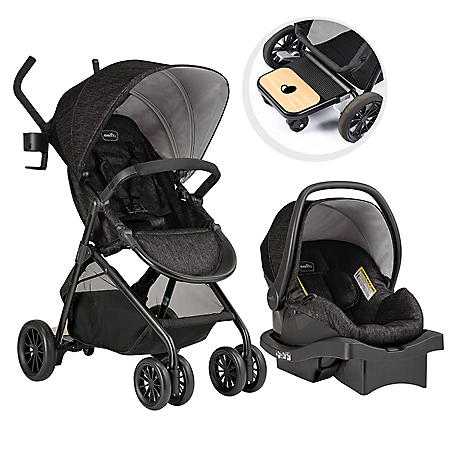 Evenflo Sibby Travel System with LiteMax Infant Car Seat, Charcoal