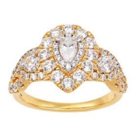 1.42 CT. T.W. Pear Shape Engagement Ring in 14K Yellow Gold