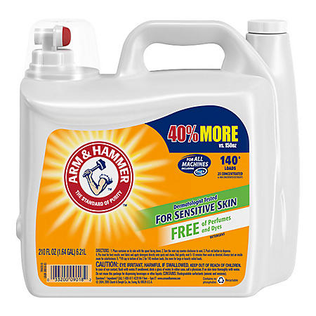Arm & Hammer 2X Concentrated Liquid Laundry Detergent for Sensitive Skin (140 loads, 210 oz.)