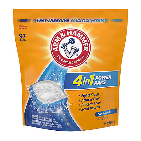 Arm & Hammer Plus OxiClean Power Paks, Single Use Laundry Detergent (97 Loads)