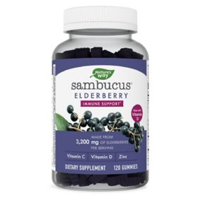 Nature's Way Sambucus Elderberry Herbal Supplement Gummies, Gluten Free (120 ct.)
