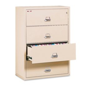 "FireKing Lateral 4-Drawer File Cabinet,Parchment (Letter/Legal, 37-1/2"" Width)"