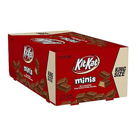 KIT KAT® King Size Minis Crisp Wafers in Milk Chocolate (2.2 oz., 12 ct.)