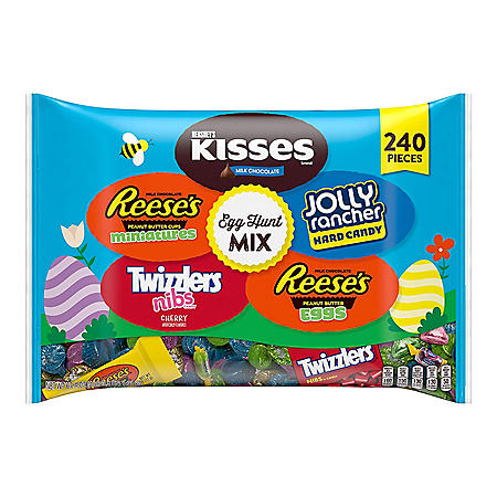 Hershey Egg Hunt Mix Sweets and Chocolate Assortment Candy, Easter Bulk Bag (67.4 oz., 240 pcs.)