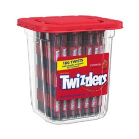 TWIZZLERS Twists Strawberry Flavored Chewy Candy, Bulk Candy Container (57.5 oz., 180 ct.)