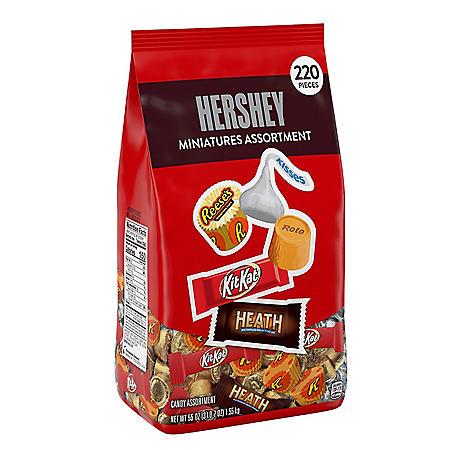 Hershey Assorted Chocolate Miniatures Candy Bulk Bag (55 oz., 220 pcs.)
