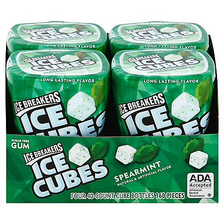 Ice Breakers Ice Cubes Sugar Free Gum, Spearmint (40 ct., 4 pks.)
