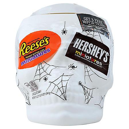 Hershey's Halloween Miniatures Assortment in Skull Candy Bowl (37oz.)