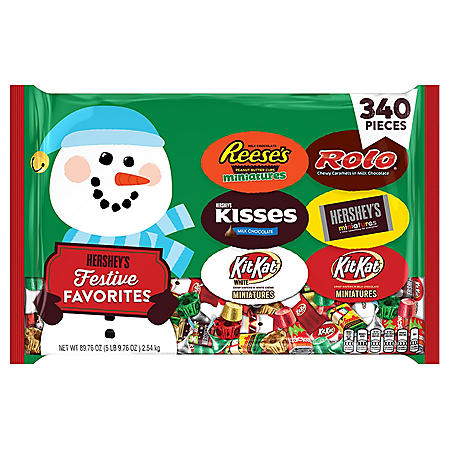 Hershey Chocolate and White Crème Assortment Candy Holiday Candy Bag (90 oz., 340 pc.)