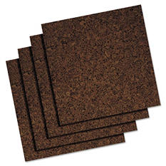Quartet - Cork Panel Bulletin Board, Brown, 12 x 12 -  4 Panels/Pack