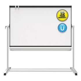 Quartet® Prestige 2 Mobile Presentation Easel,  6' x 4', White Board with Graphite Silver Frame