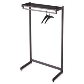 "Quartet - Single-Side Garment Rack w/Shelf, Powder Coated Textured Steel, 48"" Wide -  Black"