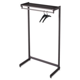 "Quartet - Single-Side Garment Rack w/Shelf, Powder Coated Textured Steel, 48"" Wide -  Black"