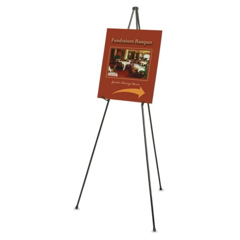 """Quartet - Heavy-Duty Adjustable Instant Easel Stand, 25"""" to 63"""" High, Steel -  Black"""