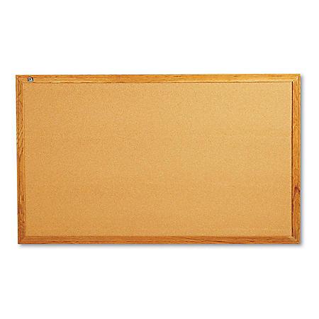 """Quartet Classic Cork Bulletin Board, 60"""" x 36"""", Oak Finish Frame"""