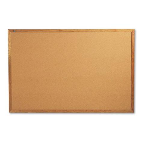 """Quartet Classic Cork Bulletin Board, 72"""" x 48"""", Oak Finish Frame"""