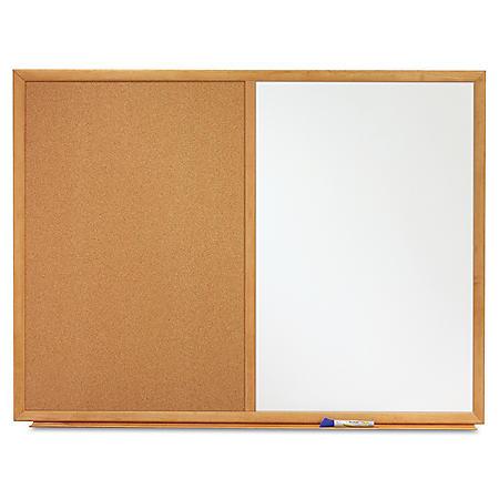 Quartet - Bulletin/Dry-Erase Board, Melamine/Cork, 36 x 24, White/Brown -  Oak Finish Frame