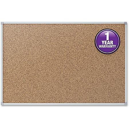 "Mead Cork Bulletin Board, 48"" x 36"", Aluminum Frame"