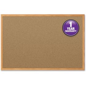 "Mead Cork Bulletin Board, 36"" x 24"", Oak Finish Frame"