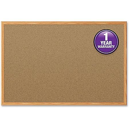 "Mead Cork Bulletin Board, 48"" x 36"", Oak Finish Frame"