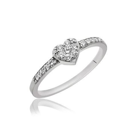 0.25 ct. t.w. Diamond Heart Ring in 14K White Gold (H-I, I1)