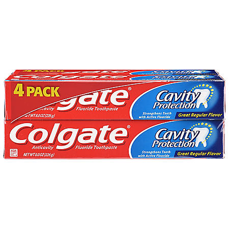 Colgate Cavity Protection Toothpaste with Fluoride, Great Regular Flavor (8 oz., 4 pk.)