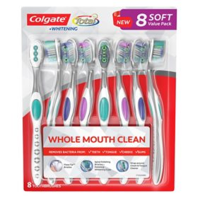 Colgate Total + Whitening Toothbrush, Choose Soft or Medium (8 pk.)