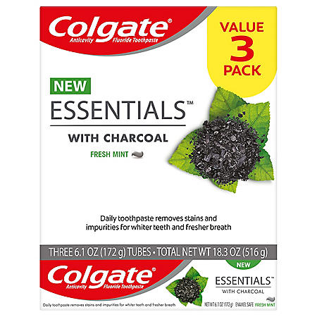 Colgate Essentials with Charcoal Toothpaste (6.1 oz., 3 pk.)