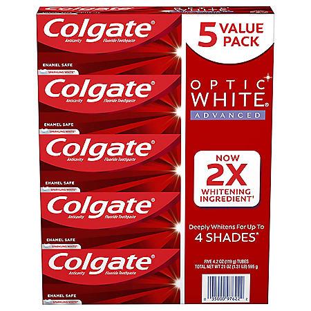 Colgate Optic White Advanced Teeth Whitening Toothpaste, Sparkling White (4.2 oz., 5 pk.)