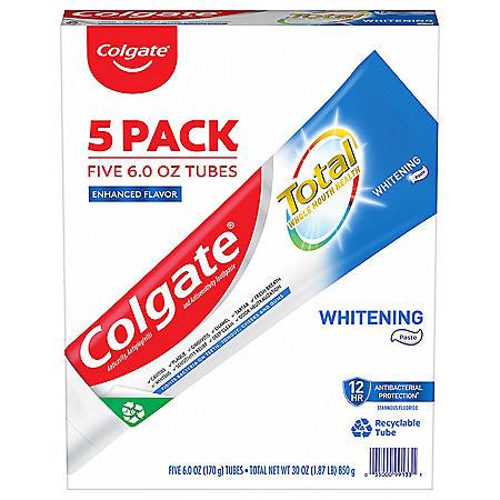 Colgate Total Whitening Toothpaste, Paste (6.0 oz., 5 pk.)