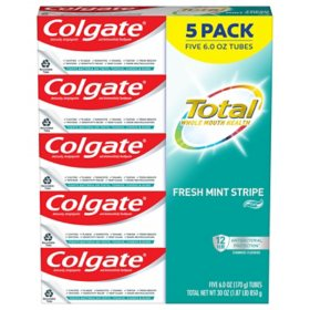 Colgate Total Fresh Mint Stripe Gel Toothpaste (6 oz., 5 pk.)