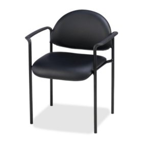Lorell Vinyl Reception Guest Chair, Black