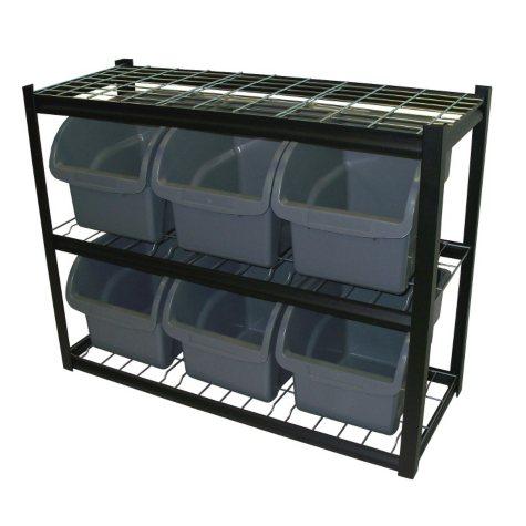 Edsal Industrial Bin Unit Shelving, 6 Jumbo Bins - Black