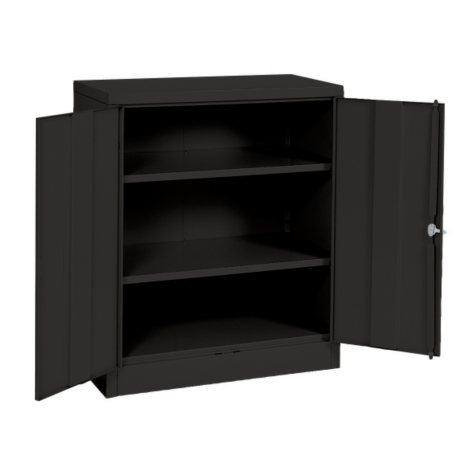 """Sandusky Quick Assembly Steel Counter Height Cabinet - Black - (36""""W x 18""""D x 42""""H)"""