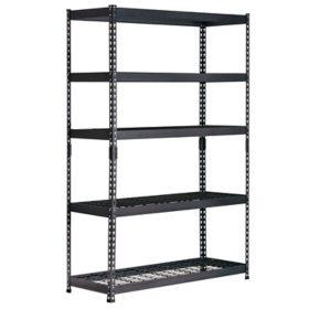 """Muscle Rack 5-Shelf Steel Shelving Unit, Black (18""""D x 48""""W x 72""""H)"""