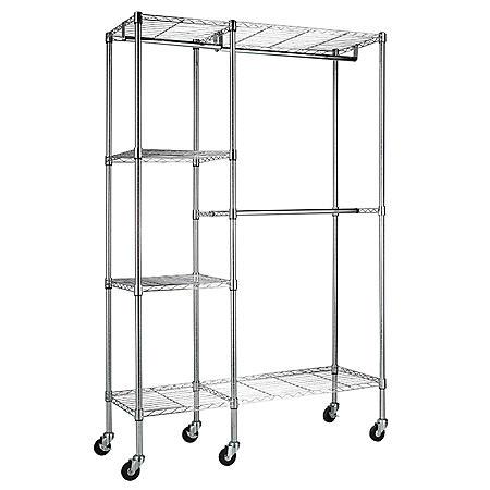 "Steel Garment Rack in Chrome (48""W x 74""H x 18'D)"