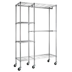 "Steel Garment Rack in Chrome (48""W x 74""H x 18'D)"