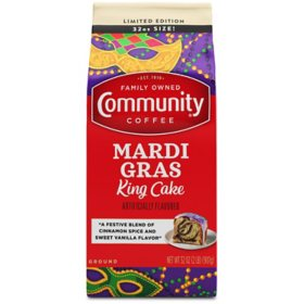 Community Coffee Ground Coffee, Mardi Gras King Cake (32 oz.)