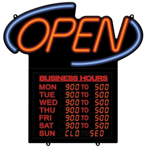 """20"""" Business Hours """"Open"""" Sign"""