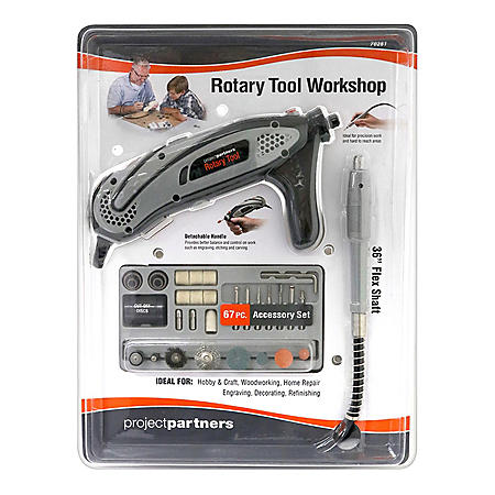 Project Partners 70-Piece Rotary Tool Set (Black & Gray)