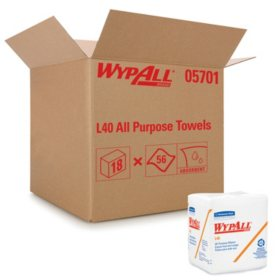 WypAll* - L40 Cloth-Like 1/4-Fold Wipers, 12 1/2 x 12, 56/Box -  18 Packs/Carton