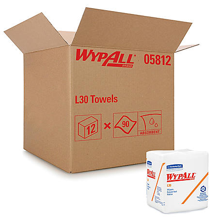 WypAll* - L30 Wipers, 12 1/2 x 12, 90/Box -  12 Boxes/Carton