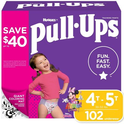 3T-4T 4T-5T Huggies Pull-Ups Plus Training Pants Diapers for Girls Size 2T-3T