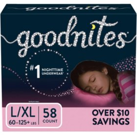 GoodNites Bedtime Underwear for Girls, L/XL (58 ct.)
